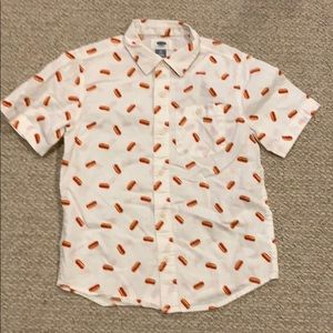 Old Navy hot dog button down shirt